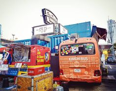 Food truck culture has arrived in Seoul. This shopping complex is entirely made of shipping containers too! #commonground #thecommonground #foodtruck #kimchi #bbq #barbecue #foodstagram #instafood #retro #seoul #southkorea #korea #asiatravel #nomsandramblestravels #nomsandrambles #instapassport #travelgram #travel #travelasia #instatravel #travelphotography #instadaily #igdaily #instagood