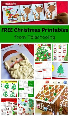FREE Christmas printables for toddlers, preschool and kindergarten. Large collection of activities including playdough mats, do-a-dot marker sheets, q-tip painting, tracing, reading, writing, coloring, matching, cutting and more!