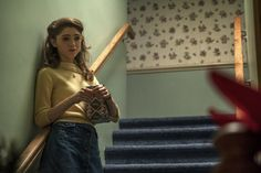 Pin for Later: Let's Take a Moment to Appreciate the Perfectly Preppy Style Choices of Stranger Things' Nancy Wheeler Her Yellow Sweater and Denim Button-Front Skirt