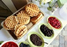 Waffle Bar I could eat waffles anytime of day, but they're of course the perfect food for a bridal shower brunch. Breakfast And Brunch, Breakfast Buffet, Sunday Brunch, Brunch Buffet, Brunch Food, Breakfast Catering, Breakfast Ideas, Party Buffet, Party Tables