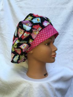 A personal favorite from my Etsy shop https://www.etsy.com/listing/476482347/owl-printed-bouffant-style-scrub-cap