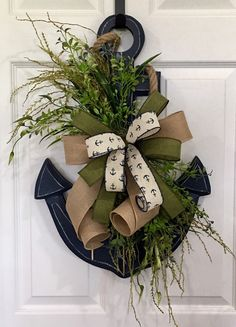 Your place to buy and sell all things handmade - Excited to share this item from my shop: Anchor Door Hanger, Anchor Wreath, Nautical Door Han - Coastal Wreath, Coastal Christmas Decor, Nautical Wreath, Nautical Christmas, Christmas Wreaths, Christmas Decorations, Nautical Anchor, Nautical Decor Outdoor, Anchor Decorations