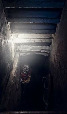 creepy evil clown lurking in shadows of cellar or mine shaft , looking at your… Rpg Horror, Creepy Horror, Creepy Clown, Creepy Art, Horror Art, Horror Pics, Horror Pictures, Creepy Images, Creepy Pictures