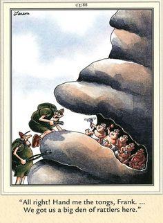 """The Far Side"" by Gary Larson. Cartoon Jokes, Funny Cartoons, Funny Comics, Cartoon Posters, Far Side Cartoons, Far Side Comics, The Far Side Gallery, Gary Larson Far Side, Gary Larson Cartoons"