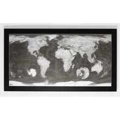 Magnetyczna mapa świata Monochrome World Map, 130x72 cm