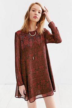 Ecote Long-Sleeve Meredith Trapeze Mini Dress - Urban Outfitters