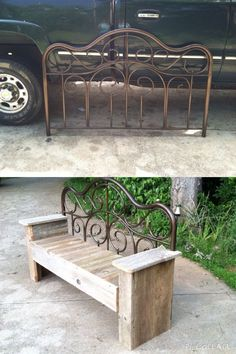 Repurposed and Upcycled... Great flea market find-metal headboard $3! We had some wood from a 100 year old barn that had collapsed. We married the two and voila!