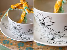 This DIY tutorial on dot painting china gives some great tips on paint selection... If you're into that sorta thing.  I'd like to give this a try. Spice up some of the million left over vintage teacups I have leftover from Big Sis's bridal shower. Revamp! Yesssss!