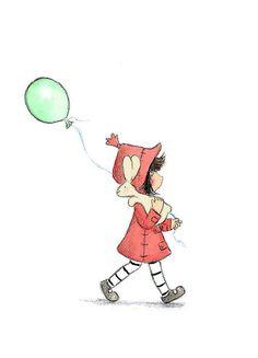 Lapin brun et jeune fille brune, avec des ballon vert - vous venez avec moi - tirage d'Art enfants