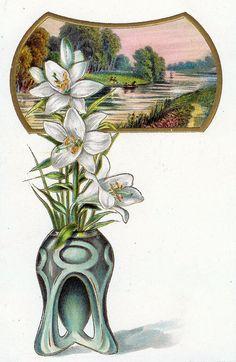 Art Nouveau (Sommer, Blumen, Lilie, Lilien, Rahmen)