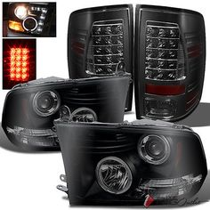 For 09-16 Ram Mystery Black Smoked Projector Headlights  Smoke LED Tail Lights