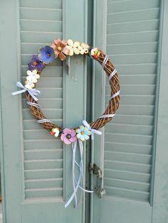 handmade wreath with polymer clay flowers and bees (diameter 25 cm) information: asimi kai fos : elmousou@live.com