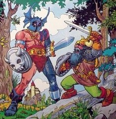 Warduke faces off against Elkhorn, as depicted on the cover of Advanced Dungeons & Dragons Coloring Book: The Lost Wand (1983). Art by Marie Severin.