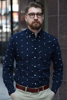 printed blue shirt.