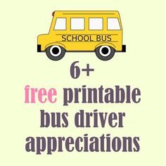 Free printable school bus driver appreciations - round-up | MeinLilaPark – DIY printables and downloads: