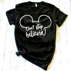 Don't stop believin! Such a fun shirt to wear to Disney World! #mickeymouse #minniemouse #disney #mouseears BELIEVE MICKEY womens shirt by MamaAndJoey on Etsy https://www.etsy.com/listing/593668165/believe-mickey-womens-shirt