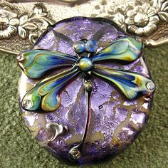 Lampwork Purple Dragonfly Focal Bead by Kerri Fuhr - Canada
