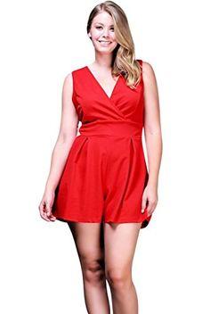27e62536c87 Amazon.com  Nyteez Women s Plus Size Pleated Romper Short Jumpsuit  Clothing