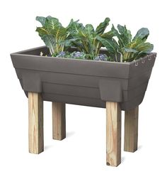 """Self-Watering Raised Bed Garden- Take the stress and strain out of gardening. This planter has a 10-gallon reservoir, holding enough water to keep plants hydrated for up to a week.  The sturdy, USA-made polyethylene container comes with potting gravel for drainage and s-hooks to hold accessories. Legs not included; insert your own 4"""" x 4"""" posts to customize the height to your liking."""