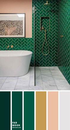 8 Beautiful Color Schemes For Bathroom Color Ideas - Green Emerald, Gold, Grey decor ideas colors schemes Warm Color Palette Dark Green Bathrooms, Grey Bathrooms, Modern Bathroom, Bathroom Ideas, Bathroom Organization, Small Bathroom Inspiration, Industrial Bathroom, Bathroom Tile Designs, Bathroom Layout