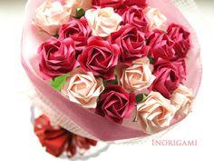 ギフトに♪かわいいピンク2色のペーパークラフト薔薇20本の花束/ ブーケ(Origami)