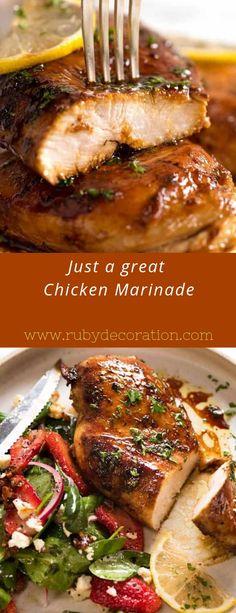Just a great Chicken Marinade - Chicken Recipes Marinade Chicken, Chicken Marinades, Grilled Chicken Recipes, Best Chicken Recipes, Grilled Meat, Turkey Recipes, Dinner Recipes, Recipes For Chicken Cutlets, Homemade Marinades For Chicken