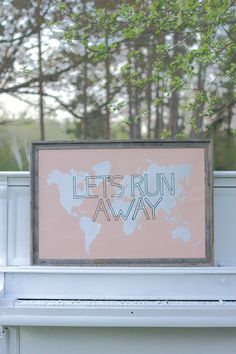 LET'S RUN AWAY Giant Modern World Map Print Poster - 24x36 - peach champagne pink.