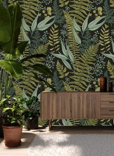 Papier peint amovible Self Adhesive Wallpaper Ferns Botanical Wallpaper Peel - Stick Wallpaper Mural Wallpaper Floor, Wood Wallpaper, Geometric Wallpaper, Self Adhesive Wallpaper, Wallpaper Roll, Peel And Stick Wallpaper, Wallpaper Murals, Wallpaper Jungle, Bathroom Wallpaper