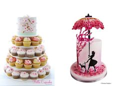 Cherry Blossom Cakes - Cake Geek Magazine Two beautiful multi-dimensional designs feature below in pale blue below with matching cupcakes by by Bella Cupcakes (left) and a fabulously creative parasol cake by sugar artist, Christian Sutjahyo (right). Cherry Blossom Cake, Cherry Blossom Wedding, Wedding Cake Designs, Wedding Cakes, Confirmation Cakes, Sunshine Cake, Swirl Cupcakes, Spring Cake, Cake Central