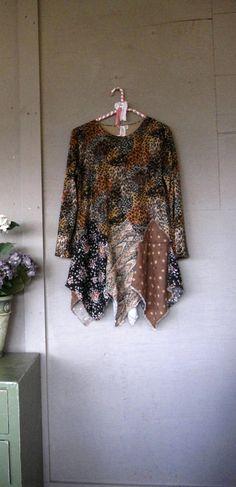 MLXL upcycled clothing Artsy tattered animal by lillienoradrygoods, $49.50