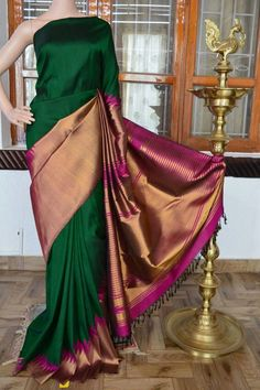 You searched for kanchipuram saree - Online Sale India Kanjivaram Sarees Silk, Kanchipuram Saree, Indian Dresses, Indian Outfits, Bridal Silk Saree, Saree Wedding, Bridal Henna, Half And Half, Kaftan