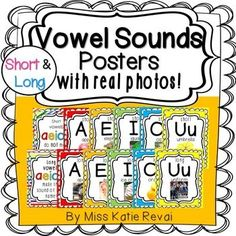 These bright & cheery posters showcase each of the short and long vowel…