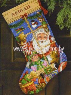Новогодний сапожок. Вышивка / Embroidery. Рождество, Новый год. Kits for embroidery. Набор для вышивки крестом Dimensions. Поделки своими руками, подарок.