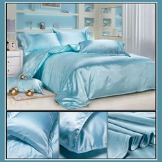 Luxury Ice Blue Mulberry Silk Satin Top Sheet Duvet w/ 2 Pillow Cases 4 Pc Set 1 Duvet Cover Bedspread, 1 Bed Sheet, 2 Pillow Cases (Fitted Bottom sheet is Extra) Color: Ice Blue Materials: Luxury Mulberry Silk King . Satin Top, Silk Satin, Mulberry Silk, Bed Spreads, Bed Sheets, Comforters, Duvet Covers, Pillow Cases, Blanket