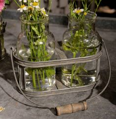 Great rustic tote with glass jars. Perfect for planting starts, creating a rustic centerpiece or using as everyday decor!
