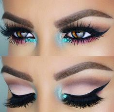 blue pink and brown makeup, lil bit of sparkle, lil bit of a flick. Not an everyday look but it's different and very pretty
