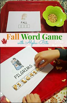 Fall Word Game - This word game is perfect for kids to play on Thanksgiving. Helps with word and letter recognition. Free printable on site! #Alphabits