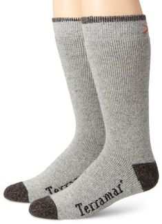 6618f92ffd Terramar Thermawool Sub-Zero Mid-Calf Socks (Pack of Grey Heather, Large  Men's Sub Zero Crew Sock with all over cushion and arch support including a  ...