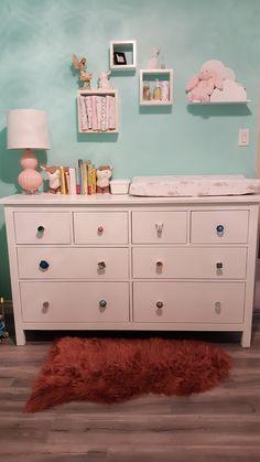 Ikea HEMNES dresser makeover  DIY upcycled dresser Baby Girl Nursery Annie Sloan chalk paint www.katiandrob.com