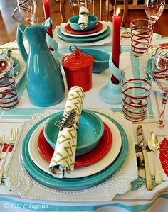 The Little Round Table: Stripes and Leaves In Turquoise and Red