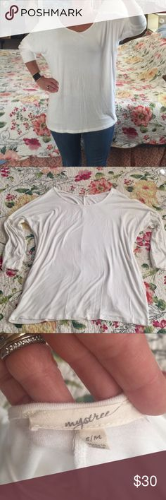 Cream long sleeved slouchy soft jersey Super soft and comfy.  Great layering piece Mystree Tops
