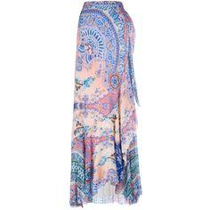 Etro Printed Silk Maxi Skirt ($655) ❤ liked on Polyvore featuring skirts, women, wrap skirts, boho skirts, bohemian skirts, long silk skirt and pink maxi skirt
