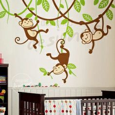 $86 6 Monkeys on vines - Kids Wall Stickers, Nursery Wall Decals + fun room accessories! - Leafy Dreams Nursery Decals.