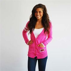 This shade of pink is so spot on for the neon trend. Plus, this boy-style cardigan is perfect for chilly campus days.