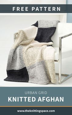 Get lost under the cozy comfort of this Urban Grid Knitted Afghan. It's the perfect piece to wrap yourself with on cold fall and winter nights. Ideal for beginner knitters to work on. | Discover over 4,500 free knitting patterns at theknittingspace.com #knitpatternsfree #giftideas #DIY #howtoknitblankets All Free Knitting, Winter Knitting Patterns, Dishcloth Knitting Patterns, Knitted Afghans, Knitting For Beginners, Crochet Blanket Patterns, Knitted Blankets, Baby Blankets, Diy Living Room Decor