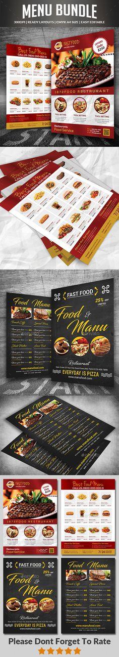 #Food & #Menu Bundle - Food Menus Print #Templates Download here: https://graphicriver.net/item/food-menu-bundle/19543892?ref=alena994