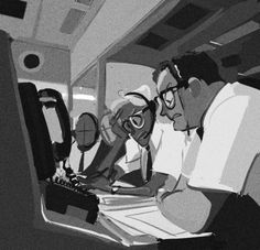 "APH: ""Unfinished-Houston we have a problem —So I wanted to do a few pics with America doing random jobs over the years where no one knows he's a personification. One being a NASA control center handler working during the time of Apollo 13 crisis."" by *Sully-s tumblr"