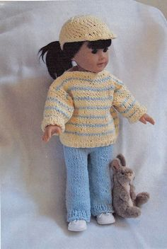 Ravelry: American Girl doll Out for A Walk pattern by Ase Bence Knitted Dolls Dress Pattern, Crochet Doll Dress, Doll Dress Patterns, Crochet Clothes, Knitting Patterns, American Doll Clothes, Girl Doll Clothes, Girl Dolls, American Dolls