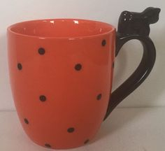 Black Cat Ghost Halloween Orange Polka Dot Coffee Mug Cup Whimsical Unique Coffee Cups, Tea Cups, Ghost Cat, Halloween Ghosts, Halloween Stuff, Global Design, Mug Cup, Whimsical, Polka Dots