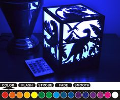 Welcome to my store.  The lantern is a unique gift : Birthday, Wedding, Anniversary, Halloween, Christmas, Valentines Day, Mothers Day, Fathers Day.  The Lantern is made by laser cutting. RGB lamp powered from the mains.  RGB LED lamp: - size: d49, H80mm - voltage: 85V-265V - color: RGB  I use RGB lamp with remote control.  The base lamp can be made in four colors: 1. BLACK wood 2. WENGE wood 3. APPLE wood 4. MAPLE wood !!! Please select the color of the lamp bases before ordering !!!  With…